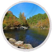 Little River From Little River Gorge Road At Townsend Entrance Round Beach Towel
