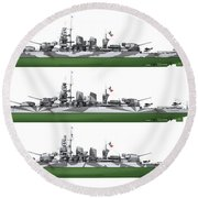Littorio Class Battleships Port Side Round Beach Towel