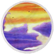 Living In The Sky Round Beach Towel