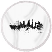 London Black And White Watercolor Skyline Silhouette Round Beach Towel