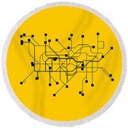 London Yellow Subway Map Round Beach Towel