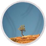 Lone Tree Big Sky Round Beach Towel