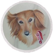 Long Haired, Miniature Dachshund Round Beach Towel