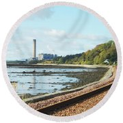 Longgannet Power Station And Railway Round Beach Towel