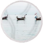 Longtail Boats At Rest Round Beach Towel
