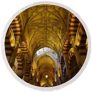Looking Up Within The Cordoba Mezquita Round Beach Towel
