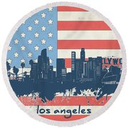 Los Angeles Skyline Flag Round Beach Towel