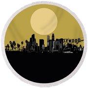 Los Angeles Skyline Minimalism Yellow Round Beach Towel