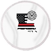 Louisiana Firefighter Shield Thin Red Line Flag Round Beach Towel