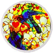 Love Birds In The Love Tree With Hibiscus Round Beach Towel