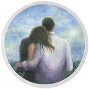 Lovers Looking Forward Brunettes Round Beach Towel