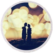 Loving Couple Standing In A Cozy Winter Scenery. Round Beach Towel