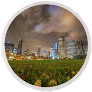 Low Angle Picture Of Downtown Chicago Skyline During Winter Nigh Round Beach Towel