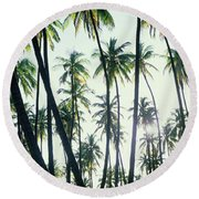 Low Angle View Of Coconut Palm Trees Round Beach Towel