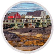 Low Tide At Blue Rocks 05 Round Beach Towel