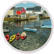 Low Tide At Blue Rocks 01 Round Beach Towel
