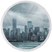 Lower Manhattan Panorama Round Beach Towel by Judy Hall-Folde