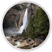 Lower Yosemite Fall Round Beach Towel