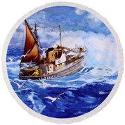 Lowestoft Trawler Round Beach Towel