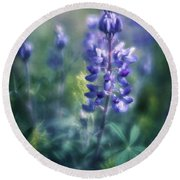 Lupine Blues Round Beach Towel