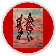 Maasai Dancers Round Beach Towel