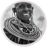 Maasai Woman In Black And White Round Beach Towel