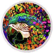 Macaw High I Round Beach Towel
