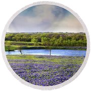 Mach Road Blubonnet Panorama In Evening Light Round Beach Towel