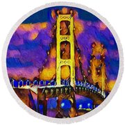 Mackinac At Dusk Round Beach Towel