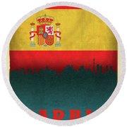 Madrid Spain City Skyline Flag Round Beach Towel