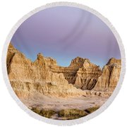 magenta Dawn in the Badlands  Round Beach Towel