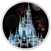 Magic Kingdom Castle In Frosty Light Blue With Fireworks 06 Round Beach Towel