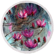 Magnolia At Midnight Round Beach Towel