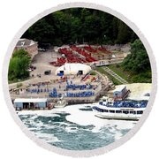 Maid Of The Mist Tour Boat At Niagara Falls Round Beach Towel by Rose Santuci-Sofranko