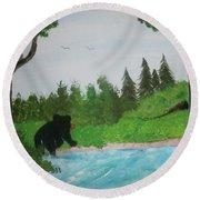 Maine Black Bear Round Beach Towel