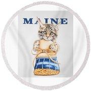 Maine Coon Kitten Round Beach Towel