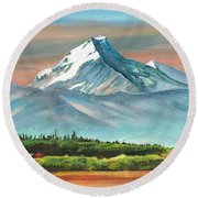 Majestic Mount Cook Round Beach Towel