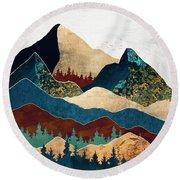 Malachite Mountains Round Beach Towel