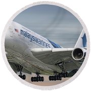 Malaysia Airlines Airbus A380-841 Round Beach Towel