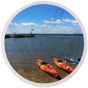 Mallows Bay And Kayaks Round Beach Towel