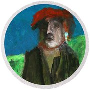 Man In A Red Hat Round Beach Towel