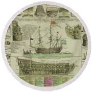 Man Of War Ship Diagram - German - 18th Century Round Beach Towel