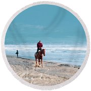 Man Riding On A Brown Galloping Horse On Ayia Erini Beach In Cyp Round Beach Towel