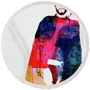 Man With No Name Watercolor Round Beach Towel