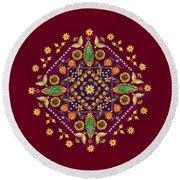 Mandala Flowering Series#2. Terracotta Round Beach Towel