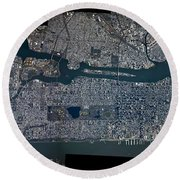 Manhattan - 2012 From Space Round Beach Towel by Celestial Images