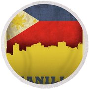 Manilla Philippines City Skyline Flag Round Beach Towel