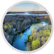 Manistee River And Hodenpyle Dam Aerial Round Beach Towel