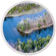 Manistee River Bend From Above Round Beach Towel