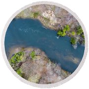 Manistee River From Above Round Beach Towel